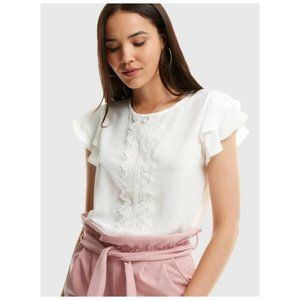 White Ruffle Sleeve Lace Detail Blouse